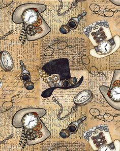 """Top hats, goggles and eyeglasses, and stopwatches are all you need to step out in Steampunk style. Larger hats are about 2-1/2"""", from the 'Unknown Voyage' collection by Tana Mueller for Blank Textiles.  Quilt Fabrics from www.eQuilter.com Steampunk City, Steampunk Crafts, Decoupage Vintage, Printable Pictures, Atc Cards, Vintage Cards, Altered Art, Scrapbook Paper, Cardmaking"""