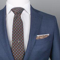 Color: Brown, Blue, White Pattern: Foulard Measures: wide x long Fabric: Poly Fashion Night, Suit Fashion, Gents Coat, Suit Combinations, Blue Suit Men, Cheap Mens Fashion, Mode Costume, Designer Suits For Men, Brown Suits