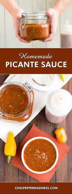 Homemade Picante Sauce - Make your own picante-style sauce at home with this recipe, with fresh tomatoes, spicy jalapenos, tangy apple cider vinegar and more. I use this sauce on practically everything. Can be served as a sauce or a salsa. Salsa Guacamole, Hot Sauce Recipes, Recipes With Picante Sauce, Picante Salsa Recipe, Dips, Marinade Sauce, Homemade Salsa, Canning Recipes, Gastronomia