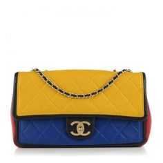 CHANEL Lambskin Quilted Medium Graphic Flap Multicolor ❤ liked on Polyvore featuring bags, handbags, quilted chain strap shoulder bag, quilted shoulder bag, chanel handbags, chain strap purse and colorful handbags