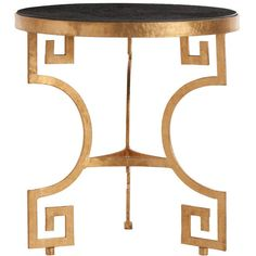 Arteriors Bonnie Black Side Table ($1,200) ❤ liked on Polyvore featuring home, furniture, tables, accent tables, onyx table, black accent table, arteriors, black furniture and gold leaf furniture