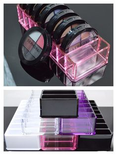 clear and transparent colored acrylic makeup compact holders and beauty care organizer - holds up to 8 compacts. makeup storage/organization.