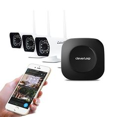 CleverLoop smart outdoor wireless security camera system with 3 outdoor security cameras & Rapid Learning tech. Security camera kit: Base, 3 cameras, night vision, security camera app & no monthly fee