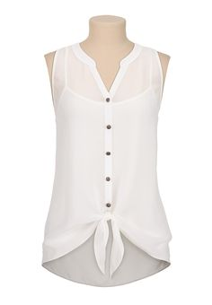 sleeveless chiffon tie front blouse - maurices.com