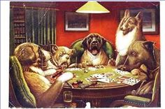 Anthropomorphic animals play cards. The start of a craze.