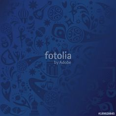 Fotolia  2018 WORLD CUP RUSSIA FOOTBALL Wallpaper SOCCER 2018 blue banner concept Soccer world competition abstract blue color pattern concept modern dynamic shapes, lines design, sports, football symbols, soccer ball, russian folk art elements red pattern, banner vector template. FIFA 2018