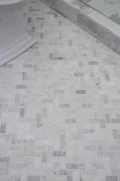 4 Dynamic Clever Tips: Fiberglass Shower Remodel Bathroom Makeovers shower remodel on a budget walk in.One Piece Shower Remodel fiberglass shower remodel bathroom makeovers.Single Stand Up Shower Remodel. Shower Floor Tile, Marble Bathroom, Bathroom Makeover, Guest Bathroom, Herringbone Floor, Bathroom Flooring, Shower Floor, Bathrooms Remodel, Tile Bathroom