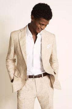 Tailored Fit Green Linen Suit Beige Suits For Men, Mens Suits, Mens Brown Suit, Groomsmen Suits, Groom Attire, Mens Linen Jackets, Men's Jackets, Mens Linen Outfits, Black Tie Suit
