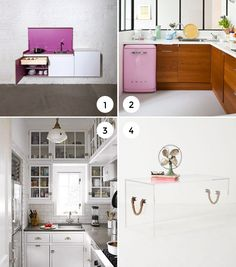 Designing for small space kitchens - I love no. 3 because the way the workspace is set up is so practical, and there is a lot of cabinet space put in to a very little area