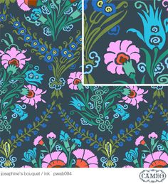 Fabric in my collection : Amy Butler Cameo Enchanted Josephine's Bouquet Ink PWAB094