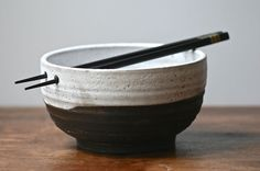 Chopstick bowl, Japanese style, Mon Homme collection, black clay, white melted snow glaze, rice bowl, ramen, udon, salad.