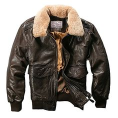 Men's Coat Air Force Flight Fur Collar Leather Sheepskin for Winter – omymarts Leather Coat With Fur, Leather Flight Jacket, Flight Bomber Jacket, Bomber Coat, Bomber Jacket Winter, Bomber Jacket Men, Motorcycle Jacket, Mens Pilot Jacket, Sheepskin Coat