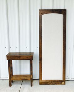 Reclaimed oak barn wood pin board and coordinating side table