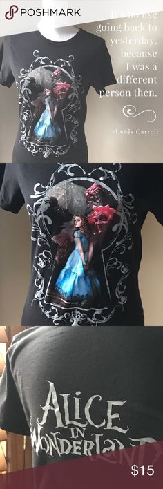 """Alice in Wonderland Tee Fun promo tee never available in stores. Size Extra Large. 100% cotton and super soft. Measures  17"""" armpit to armpit and 26"""" from top shoulder seam to bottom hem. Disney Tops Tees - Short Sleeve"""
