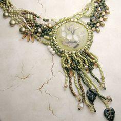 Beadwork Freeform Necklace Earrings Aqua by StoneDesignsbySheila