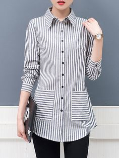 Turn Down Collar Striped Long Sleeve Blouse Silk Kurti Designs, Kurti Designs Party Wear, Blouse Designs, Blouse Outfit, Long Blouse, Trendy Tops, Blouse Styles, Blouses For Women, Fashion Outfits