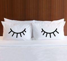Items similar to Pillowcases for Bedroom, Gift for Bed Pillows, Eyelids Shut Eye Eyelash Pillow Case Set for Her Girls Bedroom Home Decor (Item - on Etsy White Pillow Cases, White Pillows, Bed Pillows, Pillow Covers, Decor Pillows, Cushions, Girls Bedroom, Bedroom Decor, Bedroom Ideas