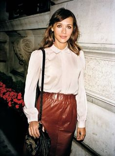 leather skirt and white blouse