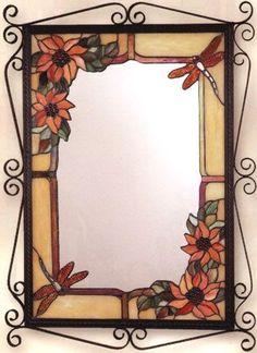 Tiffany Dragonfly Mirror by Dale Tiffany Stained Glass Mirror, Stained Glass Paint, Mirror Mosaic, Stained Glass Projects, Stained Glass Patterns, Mosaic Art, Mosaic Glass, Fused Glass, Glass Art
