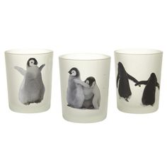 Set Of 3 Glass Penguin T-Light Holder