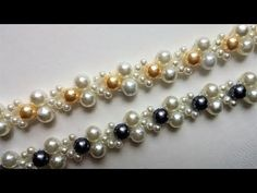 How to make a beautiful and easy pearl bracelet with crystal beads (beginners project) - YouTube