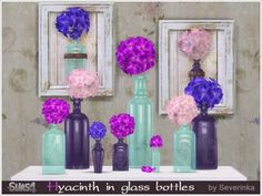 The Sims Resource: Hyacinth in glass bottles by Severinka • Sims 4 Downloads