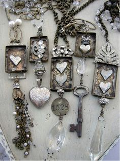 """Love Love Love this idea!  I have old keys and prisms - need some more """"stuff"""" to try to do something similar to this."""
