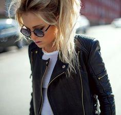 Jacket: leather zipper gold black biker sunglasses biker