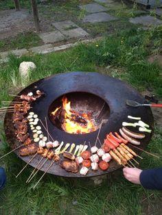 brasero barbecue rond en métal