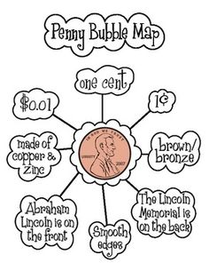 Here's a poster with a bubble map on the penny. Great for use in a lesson on identifying coins.