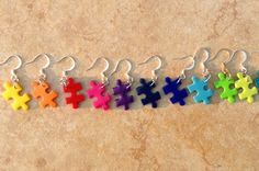 Three Pairs Autism Earrings Autism Puzzle Piece by CRNineDesigns, $18.00