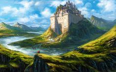 Mandastron by Sean Randolph Fantasy City, Fantasy Castle, Fantasy Places, High Fantasy, Fantasy World, Fantasy Art Landscapes, Fantasy Landscape, Landscape Art, Fantasy Concept Art