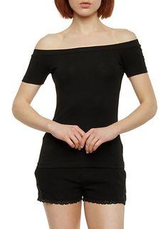 Soft Knit Off the Shoulder Top,BLACK