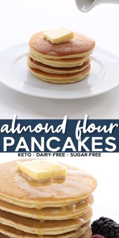 Looking for truly light and fluffy keto pancakes? Then you're going to love this recipe! Easy to make, you just whip them up in your blender. Many readers have declared this the best low carb pancake recipe they've ever tried! #pancakes #almondflour #ketopancakes #ketodiet #lowcarb #sugarfree #grainfree