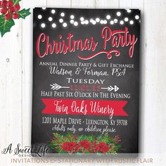 Rustic+Christmas+Dinner+Party+Invitation++by+ASweetLifeDesigns
