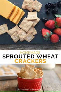 These homemade whole wheat crackers are made with King Arthur Flour's new Sprouted Wheat Flour, which is lighter & milder than regular whole wheat. Healthy Crackers, Homemade Crackers, Healthy Snacks, Bento Recipes, Vegetarian Recipes, Healthy Recipes, Flour Recipes, Bread Recipes, Whole Wheat Crackers Recipe