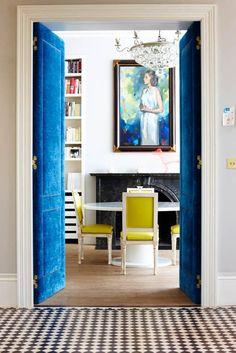 Woah... sapphire blue velvet doors.