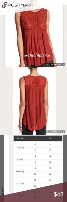 LUCKY BRAND ~ EMBROIDERED TANK TOP Color Barn Red 🌺 Size Large (12-14)🌺Floral embroidery & Lace decorate the bib 🌺 Crew Neck 🌺 Sleeveless 🌺 Lace & Ladder Stitch Detail 🌺 Ribbed Knit Construction 🌺 Knit 80% Viscose, 20% Linen 🌺 Woven 52% Cotton, 48% Viscose 🌺 Embroidery 100% Polyester Lucky Brand Tops Tank Tops