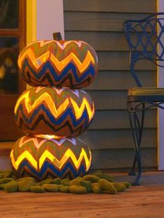 How to Make a Chevron Pumpkin Topiary >> http://www.diynetwork.com/decorating/how-to-make-a-chevron-pumpkin-topiary/index.html?soc=pinterest