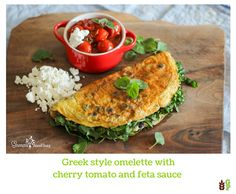 Greek style omelette with cherry tomato and feta sauce Omelette, Foodie Travel, Cherry Tomatoes, Salmon Burgers, Feta, Vegetarian Recipes, Greek, Meals, Dishes