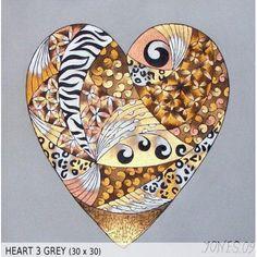 Heart 3 Grey (30x30)