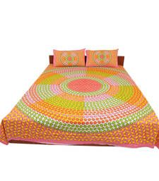 Buy Jaipuri Pure Cotton Multicolor Dot Print  Double Bed Sheet Pillow Cover Set bed-sheet online