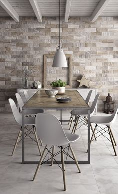 Brick Brooklyn Natural Tile Accent Wall for a Modern Farmhouse Inspired Kitchen with a Touch of Industrial Design Tile Accent Wall, Stone Accent Walls, Accent Wall Bedroom, Loft Interior Design, Home Interior, Living Room Designs, Living Room Decor, Living Rooms, Casa Loft