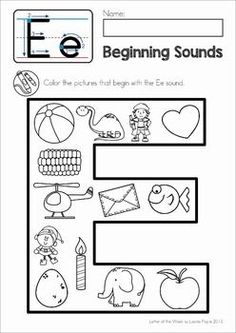 Phonics letter of the week e. beginning sounds color it! Letter E Activities, Jolly Phonics Activities, Preschool Letters, Phonics Worksheets, Preschool Learning Activities, Learning Letters, Letter E Worksheets, Preschool Math, Sons Initiaux