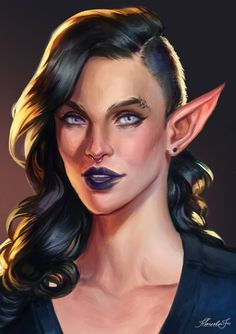Commission: Nerrie by MarcelaFreire on DeviantArt Dungeons And Dragons Characters, Dnd Characters, Fantasy Characters, Fantasy Portraits, Character Portraits, Character Art, Character Ideas, Fantasy Races, Fantasy Rpg
