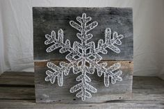 """String Art 18""""x18"""" Ornate Holiday Snowflake, Reclaimed wood and Natural String"""