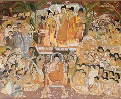 File:Ajanta Cave antechamber to the shrine, Adoration of the Buddha (color illustration). Ajanta Ellora, Ajanta Caves, Indian Temple Architecture, Art And Architecture, Composition Painting, Dragon Sketch, Buddha Painting, Krishna Art, Buddhist Art