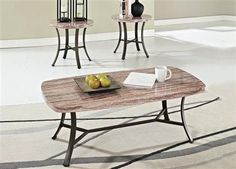 Val White Faux Marble Metal 3Pc Pack Coffee/End Table Set
