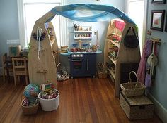 Thrifted items to make up your own dramatic play area just like in the real home!