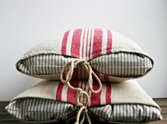 Pair of pillows from Antique European Grain Sack . great closure idea for make-do pillows Grain Sack, Soft Furnishings, Slipcovers, Home Accessories, Shabby Chic, Sewing, Antiques, Handmade, Home Decor